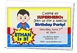 Personalized Superhero Birthday Party Baby Shower Invitation - Optional Heros Superman, Batman, Captain America, Wonder Woman, Super Girl - Decorations Banner, Sign, Favors, Thanks - BCPCustom