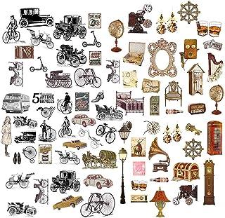 Feelairy 120 Pcs Scrapbooking Autocollants Stickers Vélo Vintage Motif Déco Autocollants pour Album Photo Bullet Journal S...