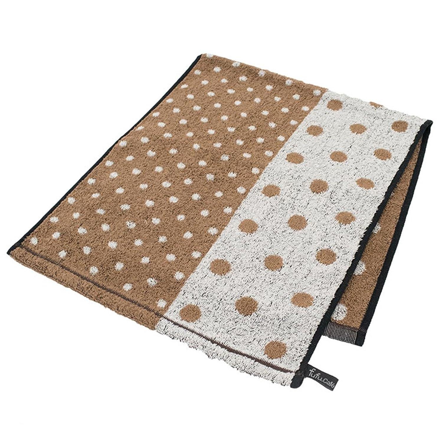 ミス行く森fufu mono form 「カフェドッツ」 フェイスタオル ブラウン 綿100% 抗菌防臭加工 かわいい 34×80cm