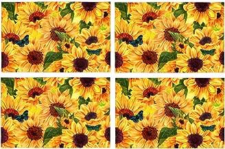 InterestPrint Summer Warm Sunflower Field Placemat Place Mat Set of 4, Orange Flower Butterfly Table Place Mats for Kitchen Dining Table Restaurant Home Decor 12x18