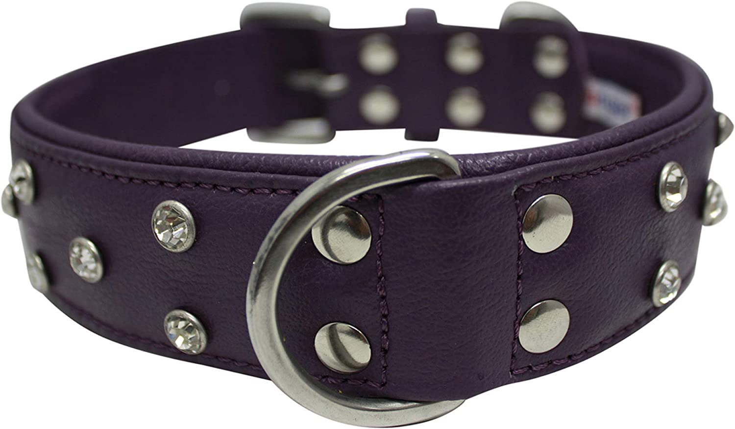 Angel Pet Supplies Inc. Rhinestones Bling Leather Dog Collar, Wide, Padded, DoublePly, Riveted Settings, 24 x1.5 , Purple, 100% Genuine Leather (Athens) Neck Size  17.5 22