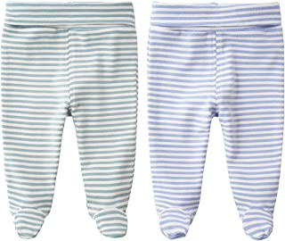 Teach Leanbh Unisex Baby 2-Pack Cotton High Waist Footed Pants Casual Leggings 0-12 Months