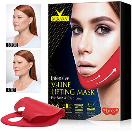 V Line Mask Chin Up Patch, V Line Shaping Face Masks, V Line Lifting Face Neck, Double Chin Reducer, Anti Age Firming Contour Tightening and Moisturizing Collagen V Shape Facial Mask Slimming Face Mask 5 PCS