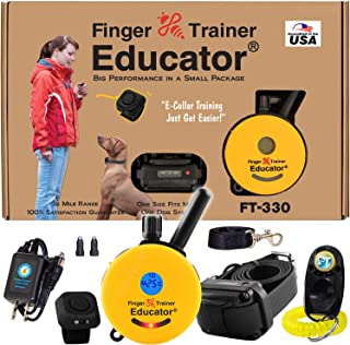 Educator E-Collar - FT-330 - Waterproof Remote Finger Trainer Micro 1/2 Mile Range - Static, Vibration and Sound Stimulation Collar with PetsTEK Dog Training Clicker