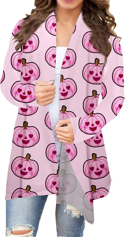Womens Halloween Cute Spider Pumpkin Graphic Tops Long Sleeve Open Front Cardigan Coat