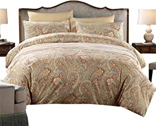 HNNSI 3 Pieces Gold Bohemian Paisley Duvet Cover Sets King Size, 800-Thread-Count Super Soft Egyptian Cotton Bedding Sets -1 Duvet Cover and 2 Pillow Shams