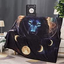 Felu Flannel Fleece Blanket Luxury 3D Black Wolf Dream Catcher Printed Soft Cozy Lightweight Durable Plush Throw Blanket for Bedroom Living Rooms Sofa Couch