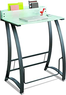 Safco Products Xpressions Glass Top Stand-Up Computer Workstation Desk with Swinging Footrest Bar, Black Frame