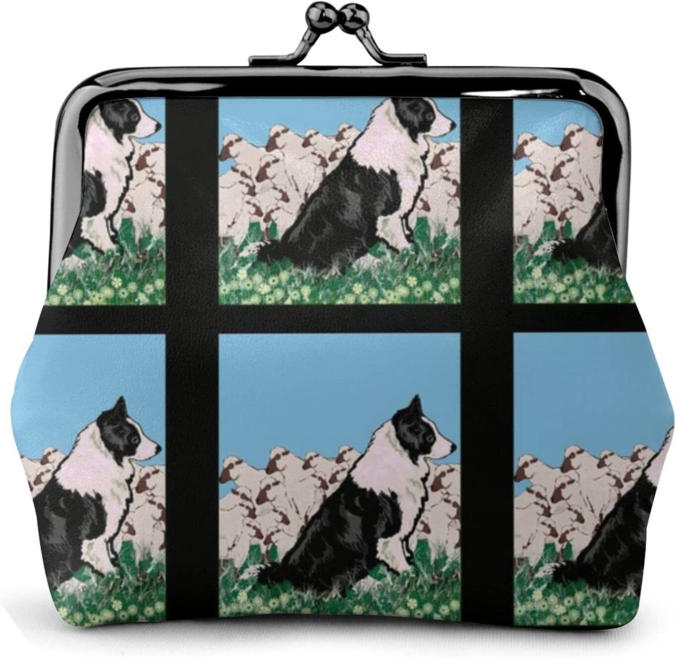 Border Collie And 688 Coin Purse Retro Money Pouch with Kiss-lock Buckle Small Wallet for Women and Girls