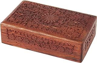 Store Indya Wooden Keepsake Jewelry Trinket Box Storage Organizer (Design 1)