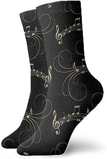 Funny Z, Notas Musicales Negras y Doradas Calcetines Novedad Calcetines de Moda para Hombres Hombres Calcetines Cómodos de Algodón para el Trabajo a Domicilio Actividad Deportiva Al Aire Libre