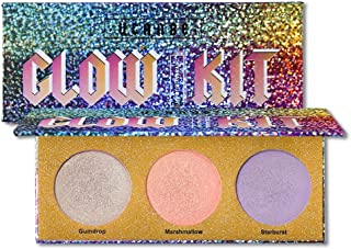 UCANBE Crystal Sugar Highlighter Makeup Palette, 3 Holographic Duo-chrome Highlighting Powder Glow Kit, Shimmer Illuminating Bronzers Highlight Cosmetics Set Pallet