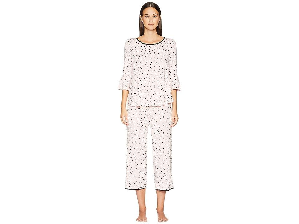 Kate Spade New York Flounce Long Sleeve Pajama Set (Scattered Dot Pink) Women