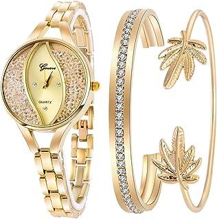 Women's Diamond Wristwatch Bangle Bracelet Jewelry Set...