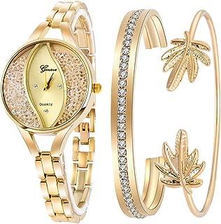 Women's Diamond Wristwatch Bangle Bracelet Jewelry Set Analog Quartz Wrist Watch for Ladies