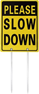 Kichwit Double Sided Please Slow Down Sign Reflective Aluminum Metal Sign with Stakes, Sign Measures 11.8