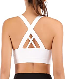Zando Womens Padded Sports Bras Strappy Criss-Cross Back Sports Bra High Support for Yoga Running Workout Removable Breath...