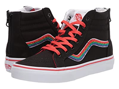 Vans Kids SK8-Hi Zip (Big Kid) ((Chenille) Rainbow/True White) Girls Shoes