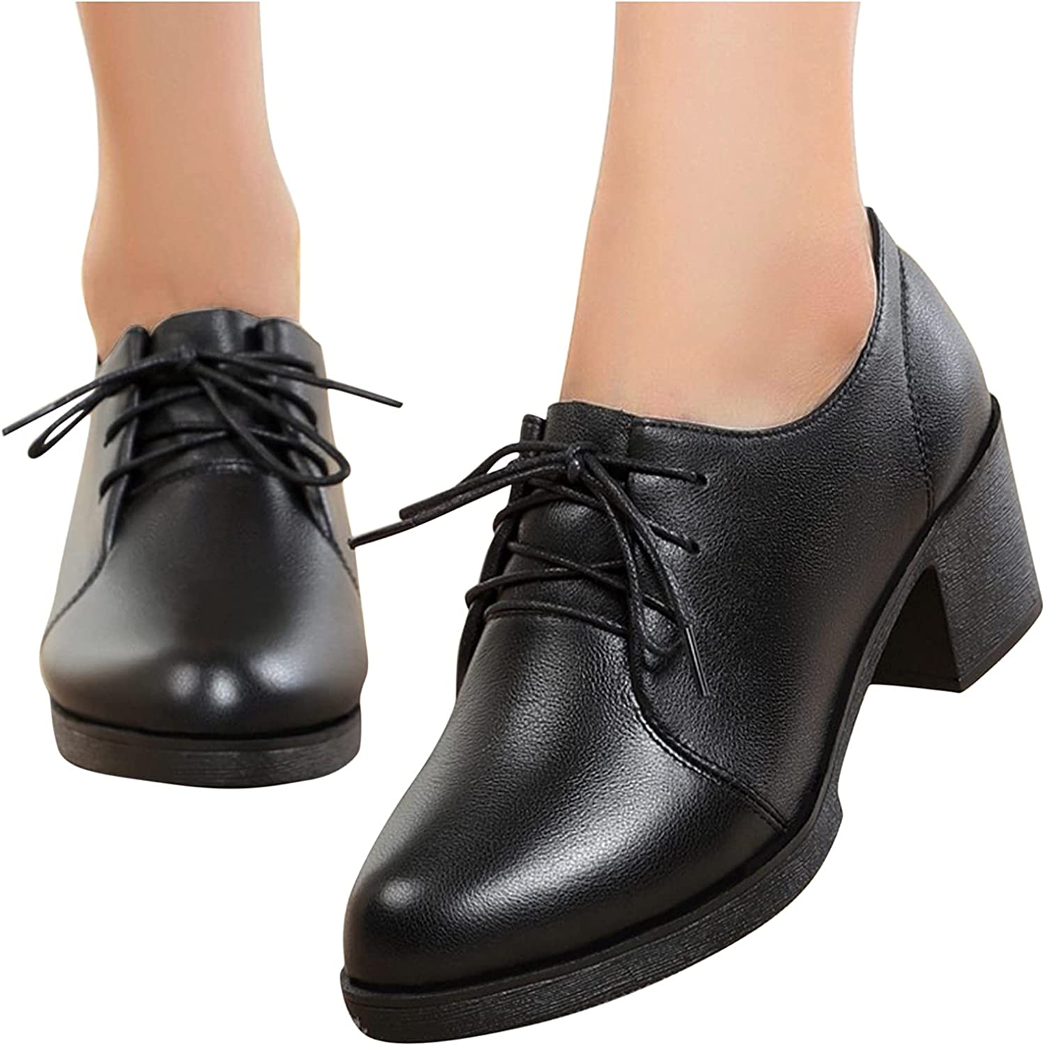 Aniywn Product Women's Excellent Faux Leather Shoes Lace Stacked Up H Chunky Block