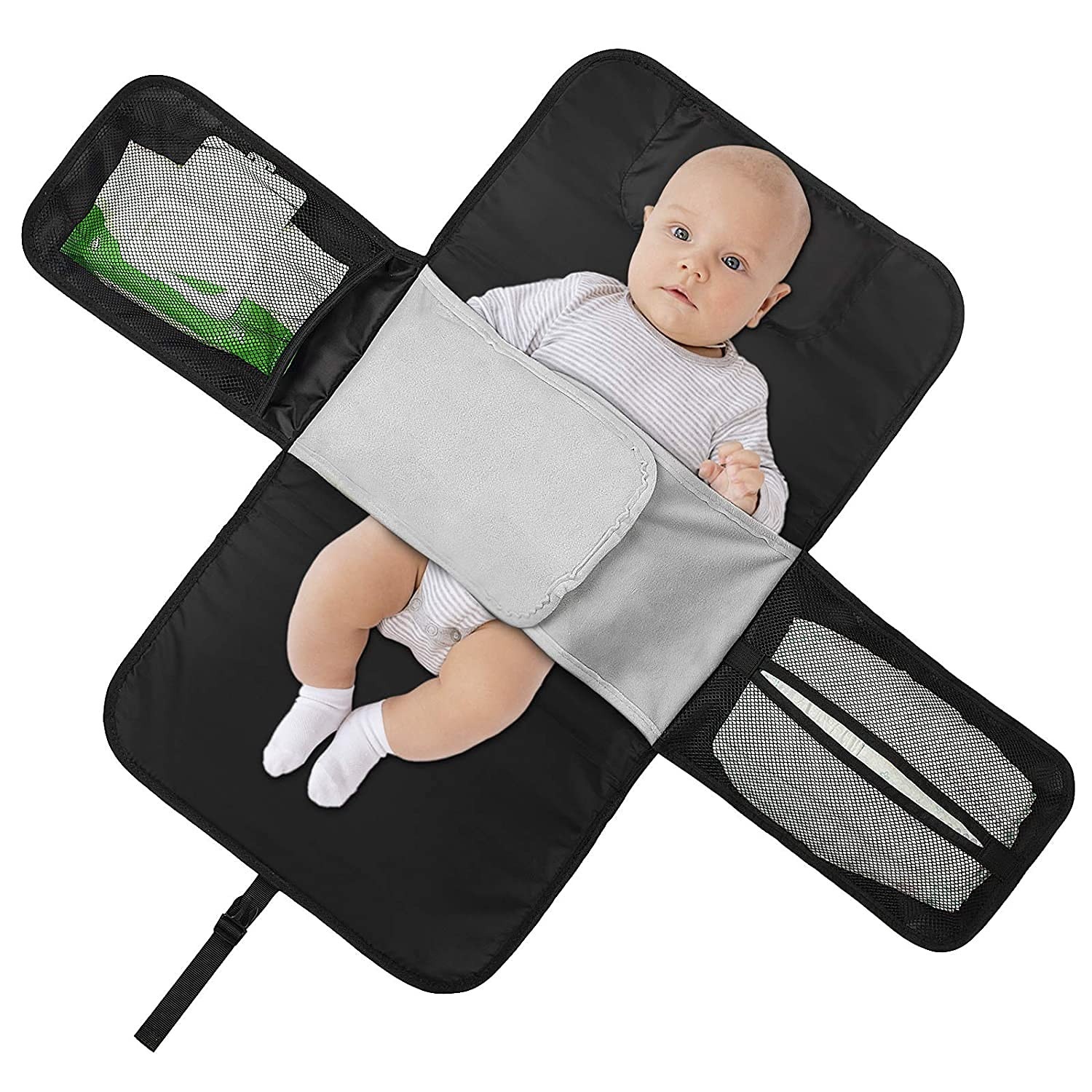 Portable Diaper Changing Pad, Extra Large Baby Changing pad with Fixed Strap, Baby Diaper Bag and Baby Changing Table Pad for Newborns, Waterproof Baby Travel Changing Mat, Baby Shower Gifts