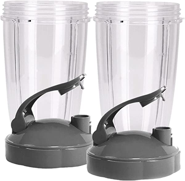 Blendin Flip Top To Go Lid With 24oz Tall Cup Compatible With Nutribullet 600W 900W Blenders 2 Pack