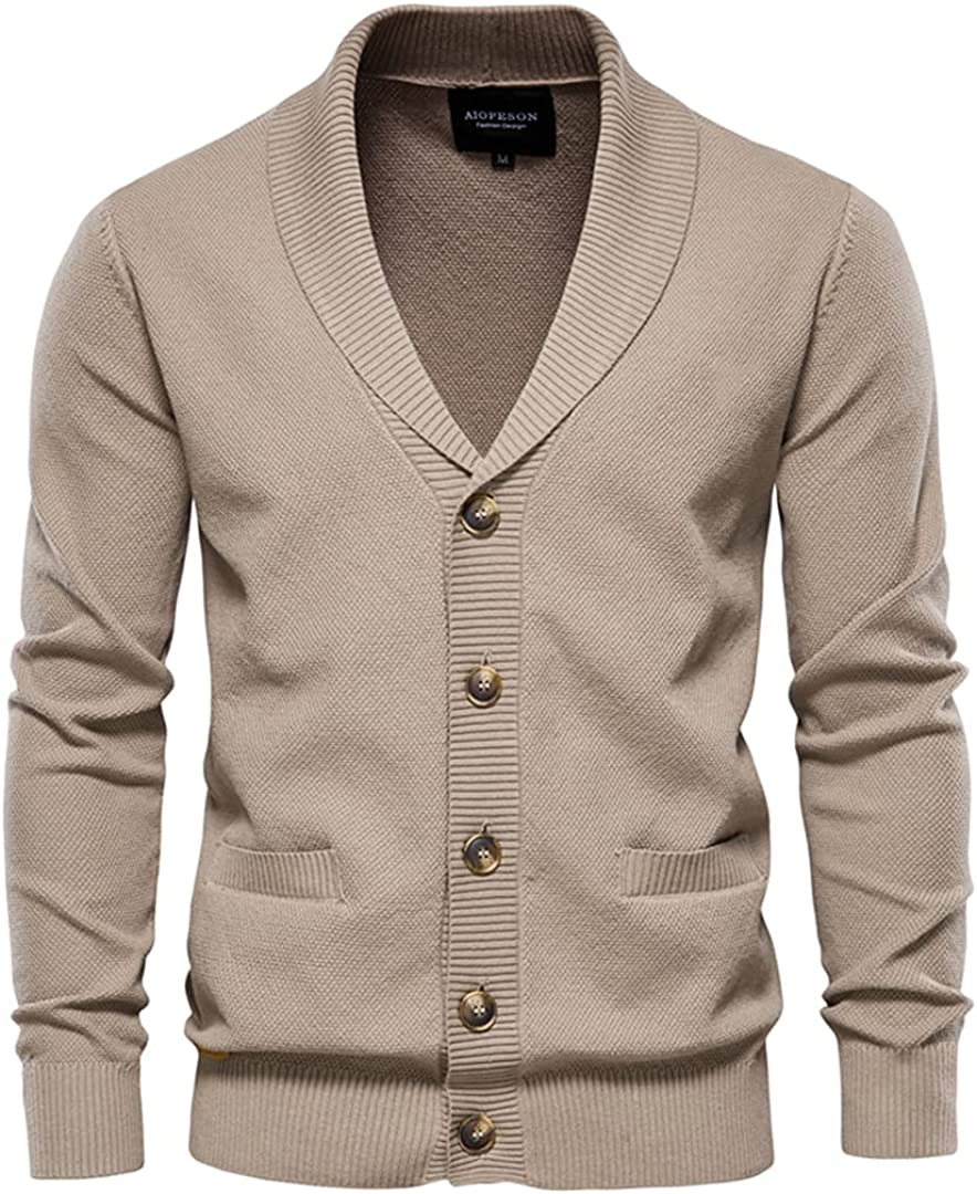 Men Cotton Pocket Cardigan Casual Warm Solid Color V-Neck Single Breasted Cardigans Sweater