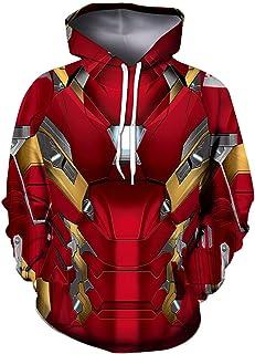 GYMAN Superhéroe Iron Man Prueba De Viento Sudaderas Fleece Pullover Sudaderas con Capucha De Niño O Adulto 3D De Impresión para Cosplay Cubierta, Al Aire Libre, Viajes,Small