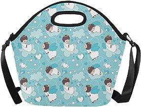 InterestPrint Angel Little Girl Large Reusable Insulated Neoprene Lunch Tote Bag Cooler 15.04