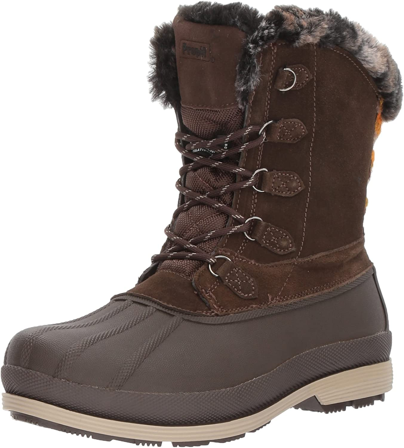 Propet Women's Lumi Tall Lace Snow Boot, Brown, 9.5 2E US