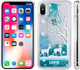 3D Winter Sparkle Glitter Waterfall Phone Case (Winter Deer) for iPhone Xs, X, Interactive Water Liquid Cascade Floating Snow Globe Dynamic Transparent Smartphone Cover Snow Nature Animals Woods