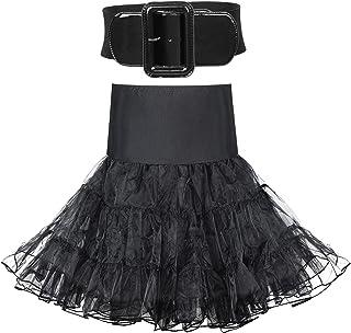 2 Pieces Women 50s Vintage Petticoat Skirt Tutu Crinoline Underskirt with Wide Buckle Stretch Belt Elastic Dress Belt for ...