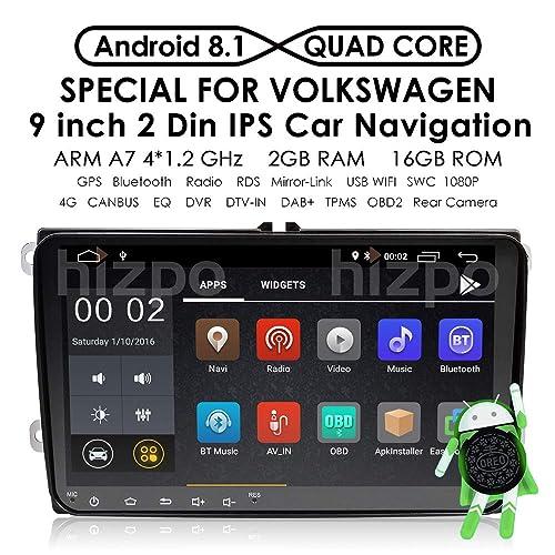 Récepteur vidéo et radio stéréo pour voiture - 9 pouces - Android 8.1 - Pour VW Jetta Passat Golf Polo Tiguan - Système Quad Core, mémoire RAM de 2 Go, navigation GPS, radio, Bluetooth, Wi-Fi