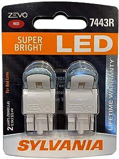 Sylvania Zevo 7443 Red LED Bright Interior Exterior Mini Auto Light Bulb, 2 Pack