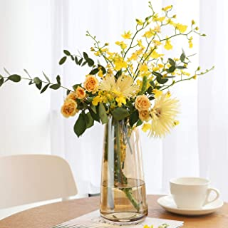 Lewondr Vase en Verre, 8.7 Pouces Irisé Cristal Ins Style Décoratif Floral Fleur BourgeondePlante PotConteneur Décorati...