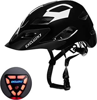 Exclusky Adult Road Bike Helmet with USB Rear Light, CPSC Certified Bicycle Cycling Helmets, Adjustable Lightweight Helmet for Urban Commuter Women Men, 22.05-24.01 Inches