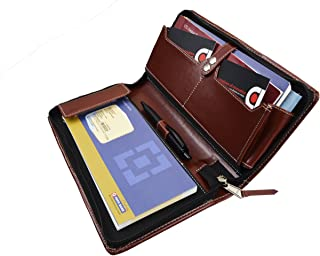 COI Brown Multiple Chequebook Passbook Passport Car Document Holder for Men & Women