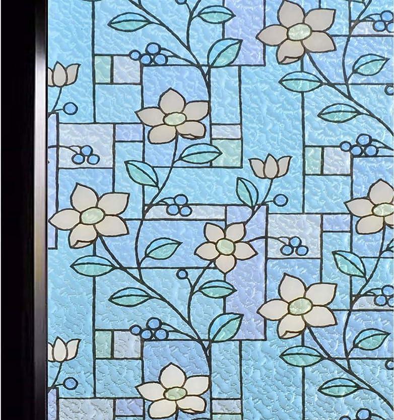 涙ジャンクション乳LRJQJ 窓用フィルム 目隠しシート ガラスフィルム 窓めかくしシート遮光 遮熱 断熱シート 紫外線 UVカット ステンドグラス シール 水で貼る 貼り直し可能 おしゃれな花柄 インテリアシール サイズオーダー可能 (90*200CM,1)