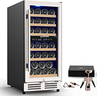 MOOSOO 15'' Dual Zone Wine Cooler Refrigerator Built-in or Freestanding, Independent Temperature Control Wine Fridge, 30 B...