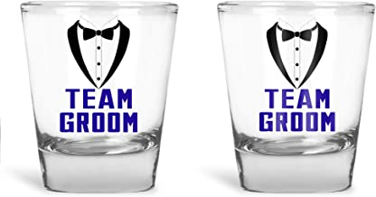 Wedding Shot Glasses - Bride and Groom Shot Glass - Groom Drinking Team Bachelor Party Wedding 2 oz Groom Drinking Team