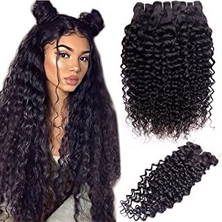 10A Brazilian Water Wave Bundles with Closure (26 28 30+20,Middle Part) 3 Bundles Human Hair Bundles with Lace Closure RESACA Wet and Wavy Unprocessed Hair Bundles with 4x4 Closure