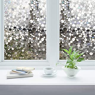 Privacy Window Films, Almost Transparent Glass Tint Static Cling Treatment for Home Security & Decorative, Heat Control, UV Stop - No Glue, No Residue, Easy Removal (Art Pebbles, 17.7x78.7 Inches)