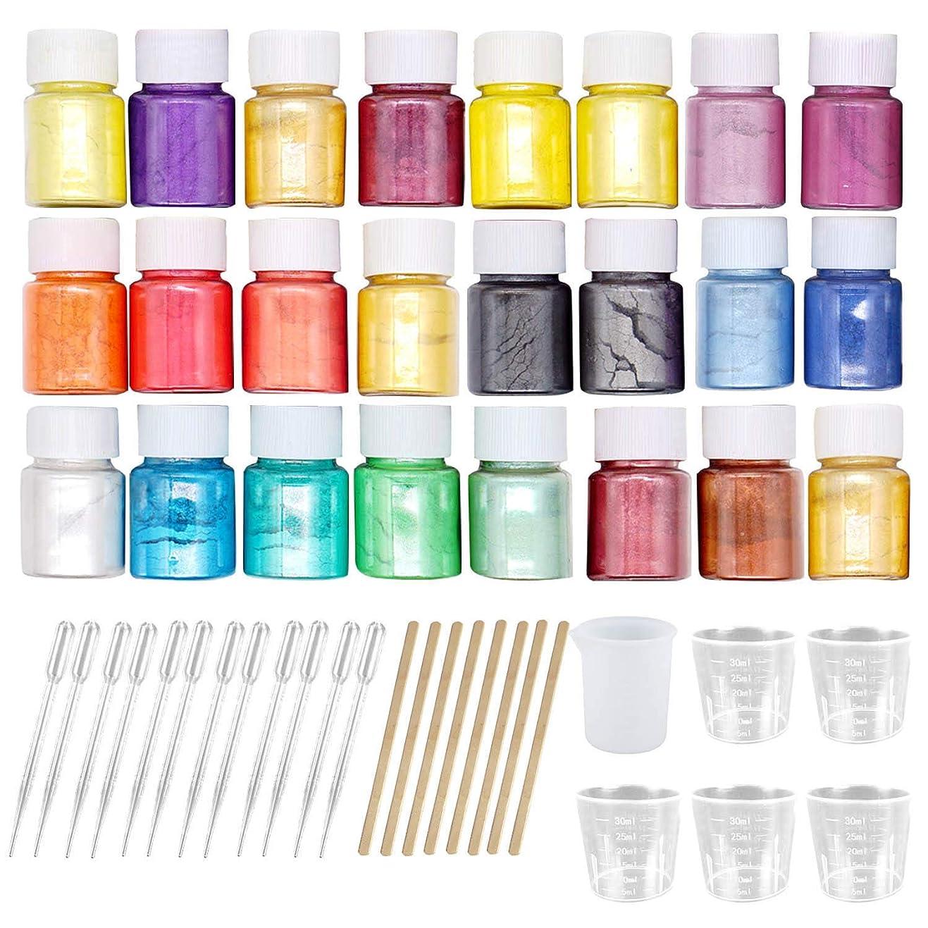 時資源るマイカパウダー Migavan マイカパールパウダー 24色着色剤顔料マイカパールパウダー+ 8ピース木製ロッド+ 6ピース計量カップ+ 12ピーススポイト用diyクラフトスライム用品ランダムな色