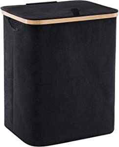 YOUDENOVA 66L Bamboo Laundry Hamper Basket with Lid and Handle, Waterproof and Collapsible Cloth Hamper for Closet and Bathroom, Black(15.7
