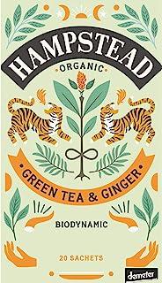 Hampstead Tè Verde Biologico e Biodinamico con Zenzero - 1 x 20 Bustine di Tè 40 Grammi