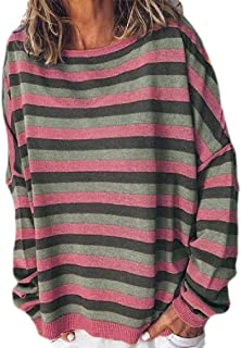 S-Fly Women's Stripe Casual Crew Neck Long Sleeve Loose Fit T-shirt