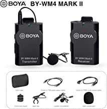 BOYA Upgrade 2.4GHz Wireless Lavalier Lapel Mic, Omnidirectional Microphone System Audio Recording with Easy Clip On, 3.5mm Plug for Canon Nikon Sony DSLR Camera, Camcorder, iPhone Huawei Smartphone