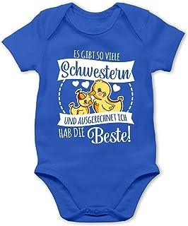 Shirtracer Geschwisterliebe Baby - Es gibt so viele Schwestern und ausgerechnet ich hab die Beste mit Enten - weiß - Baby Body Kurzarm für Jungen und Mädchen