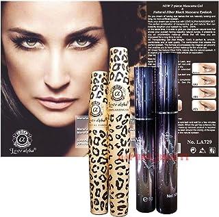 3D Fiber Lashes Love Alpha 2 Mascara Sets - LA306 & LA729 Tansplanting Gel & Natural Fibre Mascara Set (Brush on False Eyelashes) [並行輸入品]