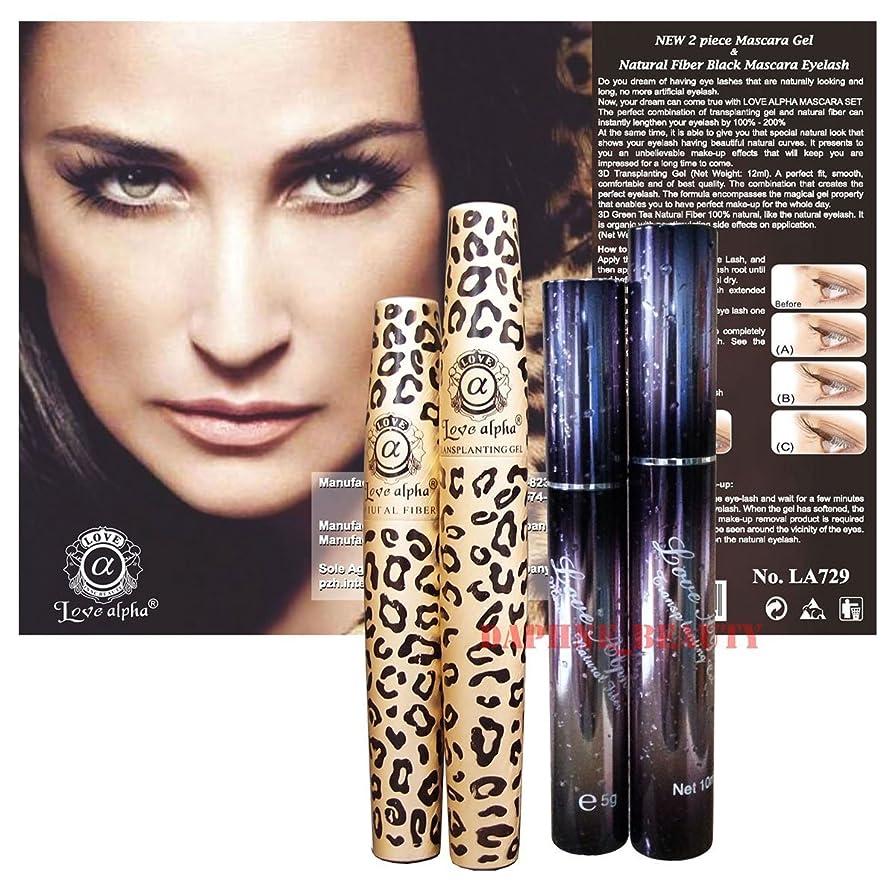 静けさ活気づくグリップ3D Fiber Lashes Love Alpha 2 Mascara Sets - LA306 & LA729 Tansplanting Gel & Natural Fibre Mascara Set (Brush on False Eyelashes) [並行輸入品]