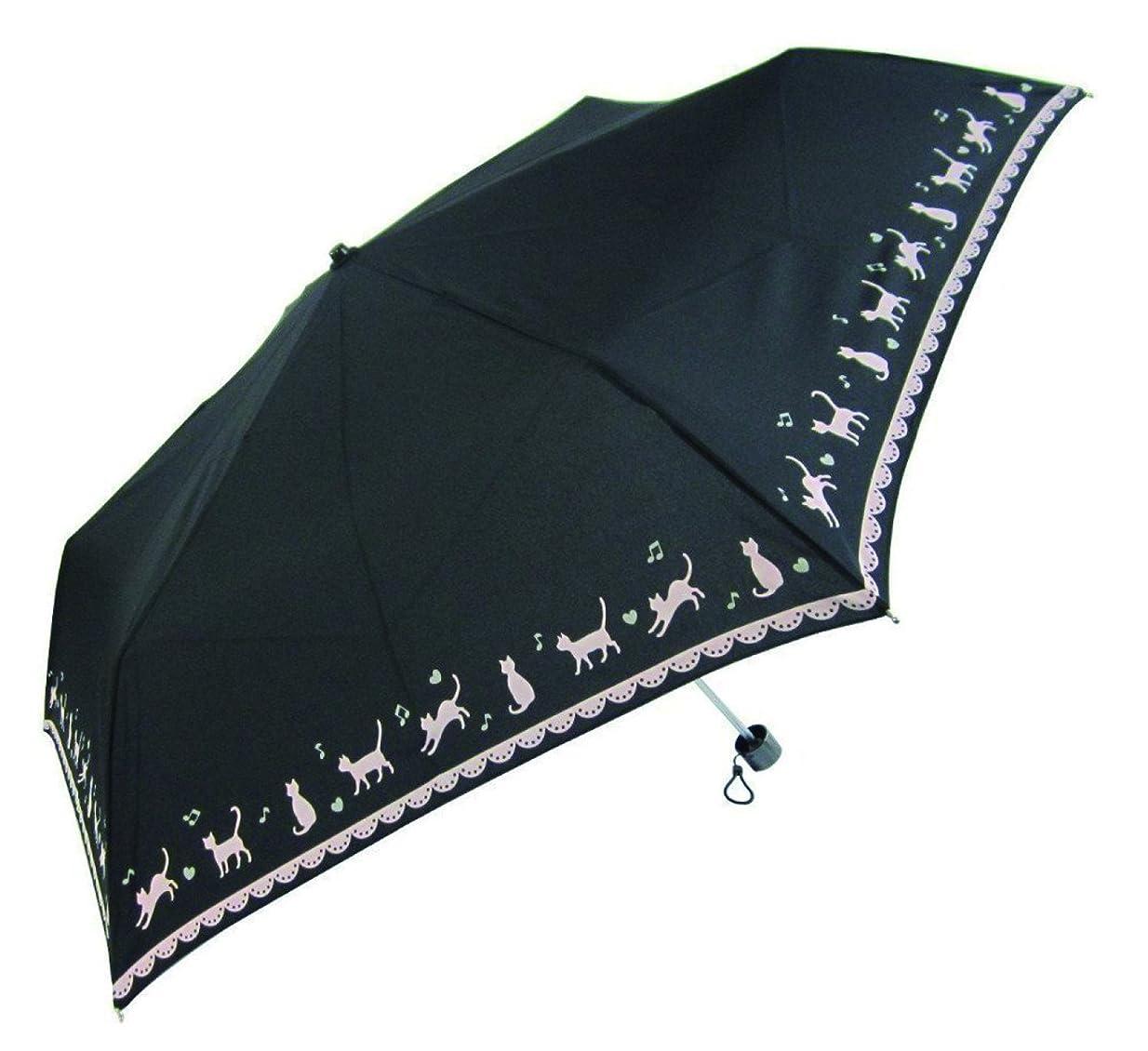 皮肉なことわざ不屈【無償修理対象】 黒ネコ裾柄 かわいい 軽量折りたたみ ミニ傘 56cm 収納しやすい袋付き (黒)
